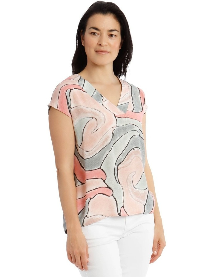 Extended Short Sleeve V-Neck Woven Front Tee image 2