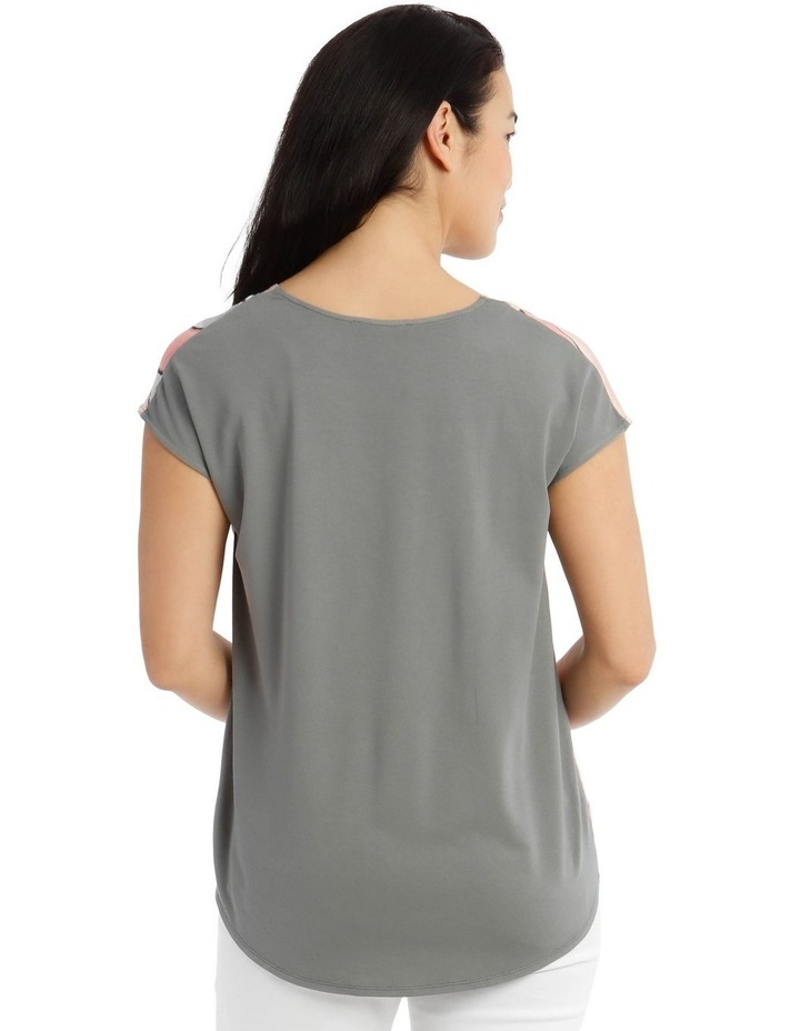 Extended Short Sleeve V-Neck Woven Front Tee image 3