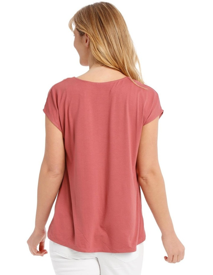Short Sleeve Bruised Poly Front/Knit Back Tee image 3