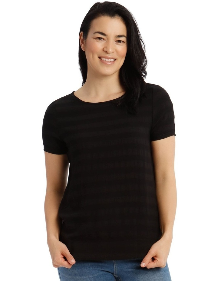 Textured Woven Front Short Sleeve Shell Tee With Knit Back image 1