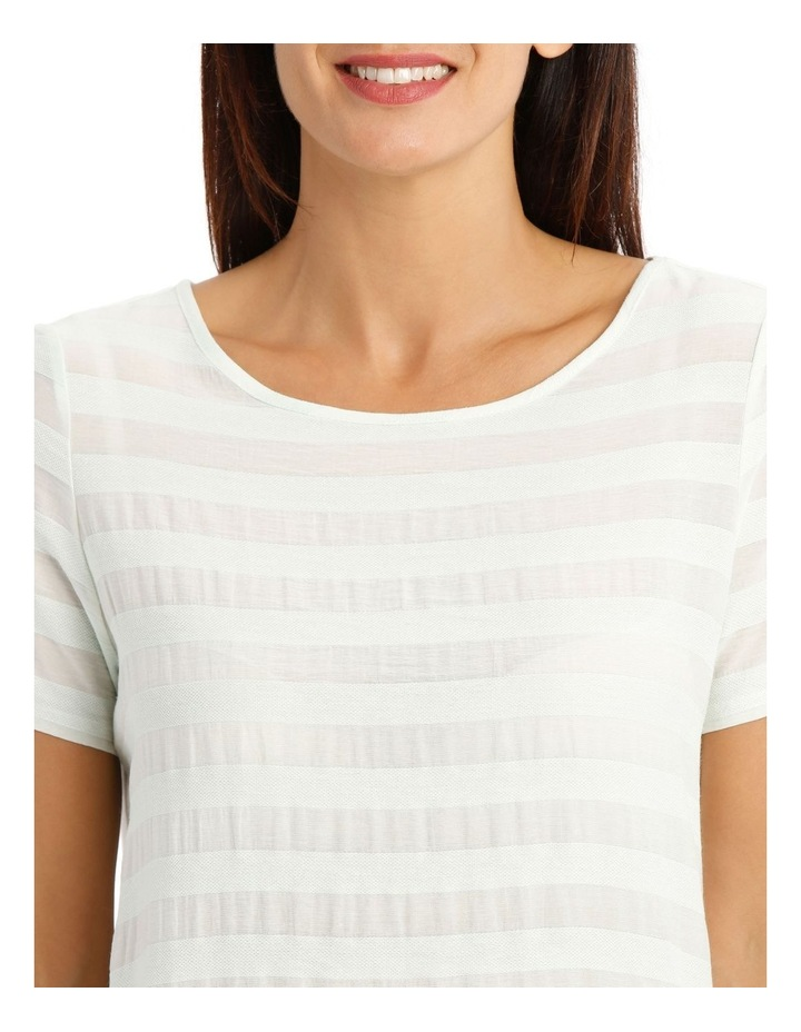 Textured Woven Front Short Sleeve Shell Tee With Knit Back image 4