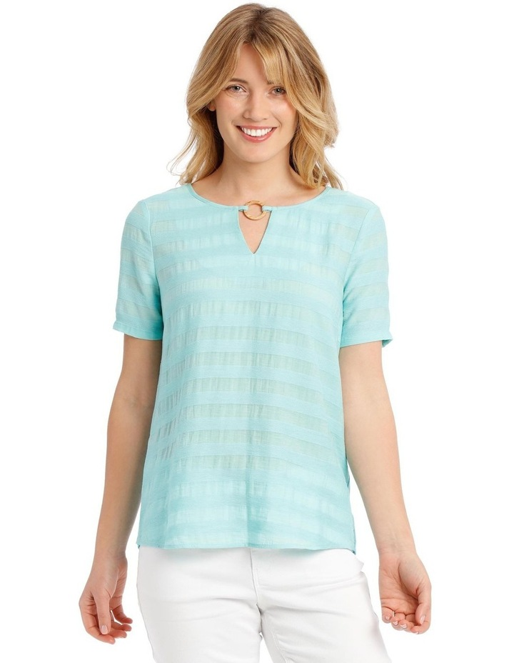 Textured Woven Front Short Sleeve Ring Neck Tee image 1