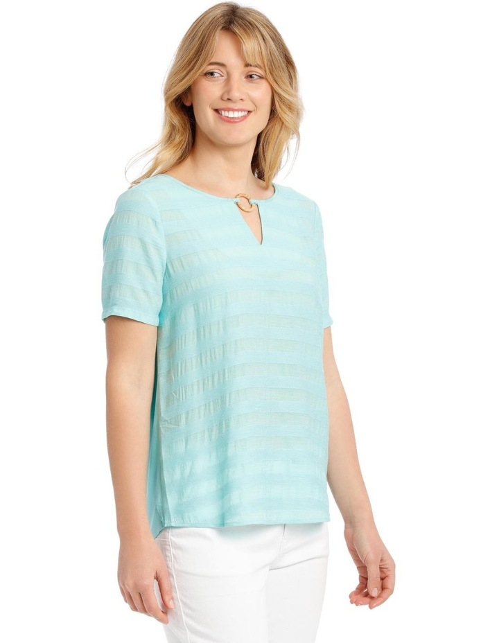 Textured Woven Front Short Sleeve Ring Neck Tee image 2