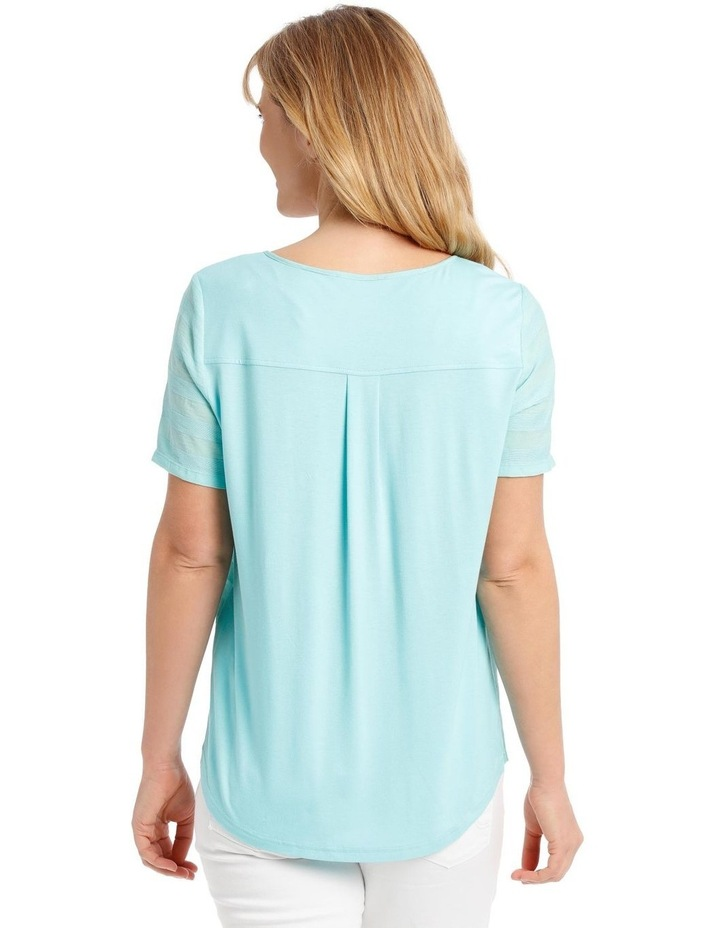 Textured Woven Front Short Sleeve Ring Neck Tee image 3