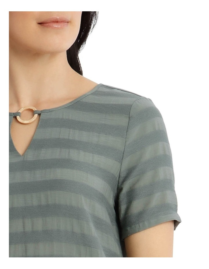 Textured Woven Front/S/S Ring Neck Tee-Cyprus image 4