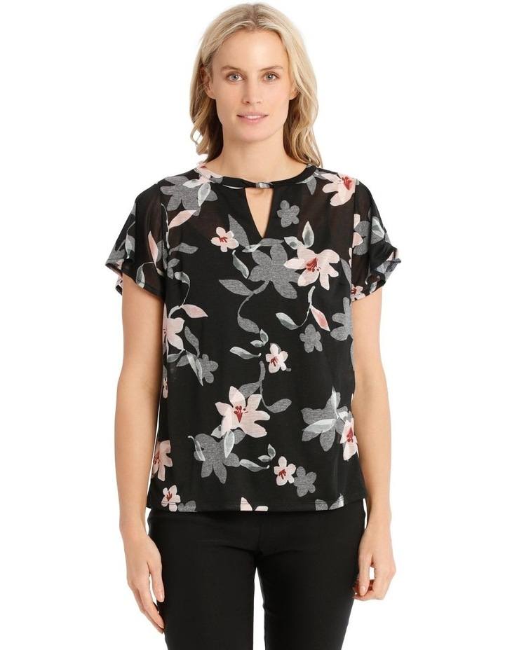Twist Neck Burnout Tee With Flounce Sleeve image 1
