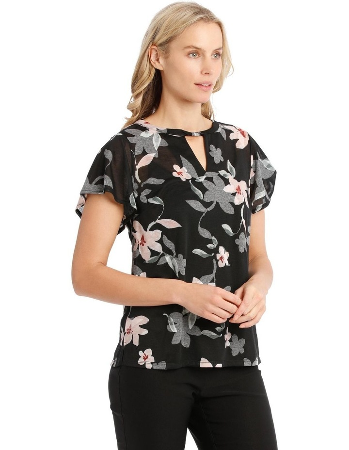 Twist Neck Burnout Tee With Flounce Sleeve image 2