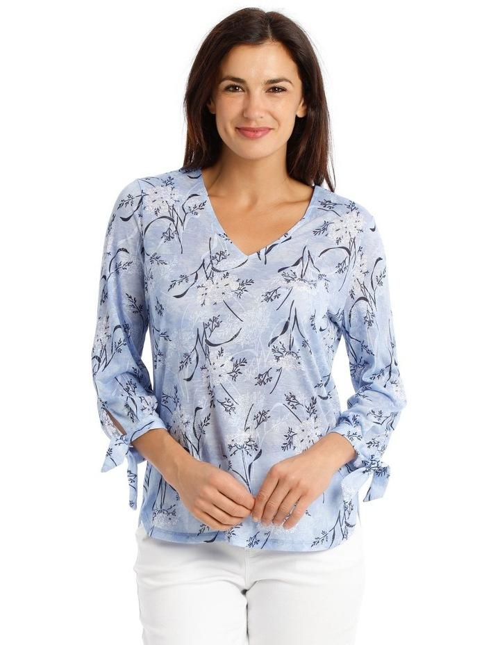 3/4 Tie Sleeve V Neck Burnout Tee-Lt Blue Floral image 1