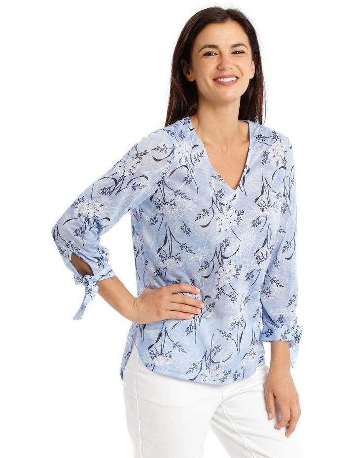 3/4 Tie Sleeve V Neck Burnout Tee-Lt Blue Floral image 2