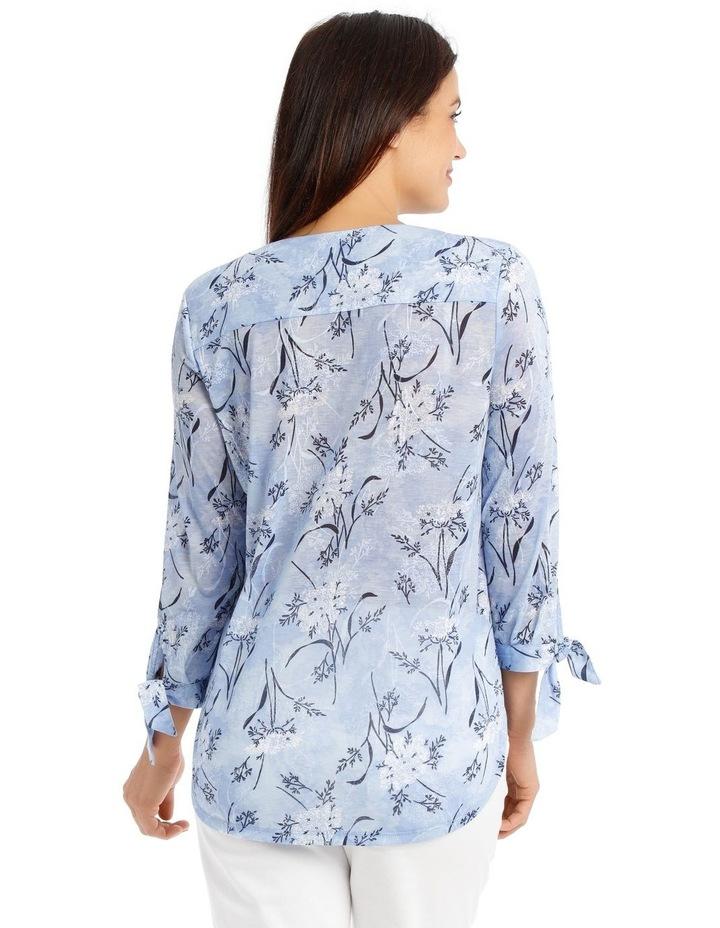 3/4 Tie Sleeve V Neck Burnout Tee-Lt Blue Floral image 3