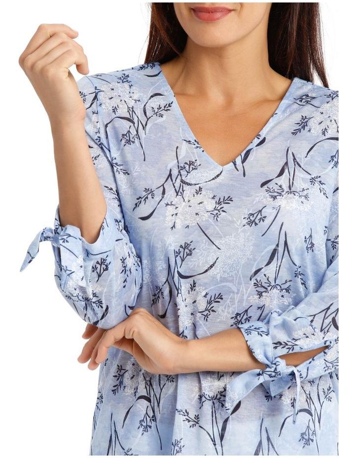 3/4 Tie Sleeve V Neck Burnout Tee-Lt Blue Floral image 4