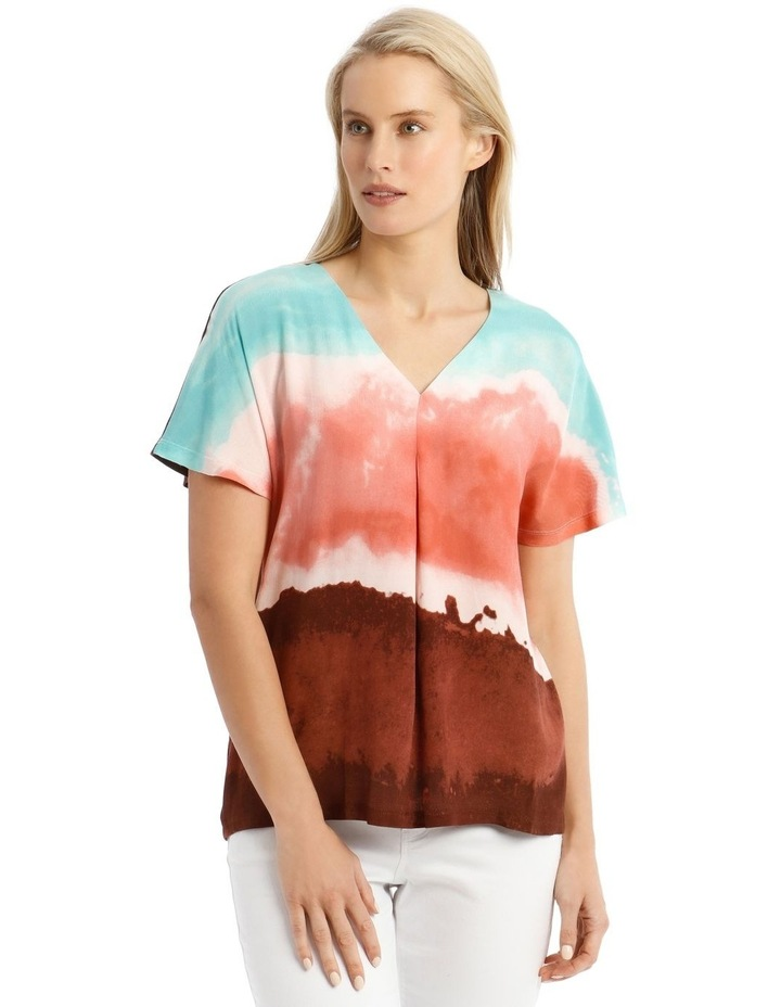 Extended Sleeve Inverted Pleat Knit/Woven Tee image 1