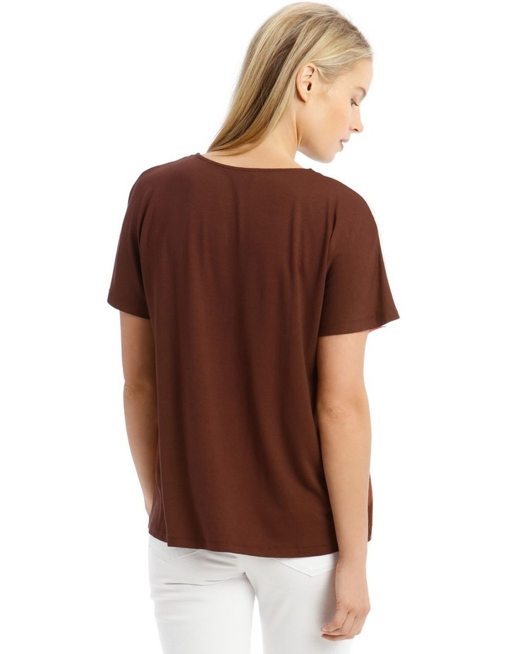 Extended Sleeve Inverted Pleat Knit/Woven Tee image 3