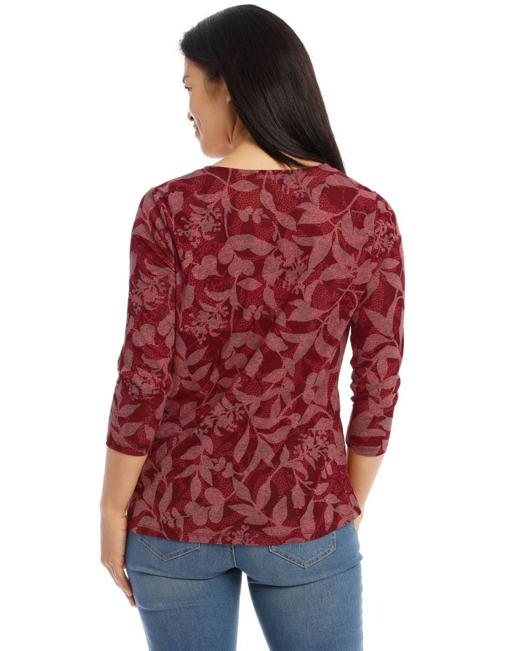 Knot Front 3/4 Sleeve Burnout Tee image 3