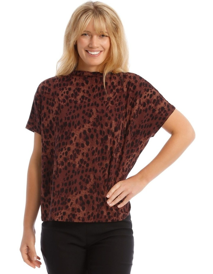 High Neck Cowl Dropped Shoulder Tee image 1
