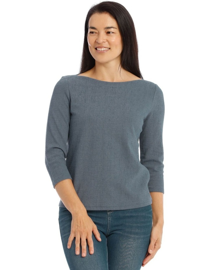 Boat Neck 3/4 Sleeve Textured Knit Tee image 1