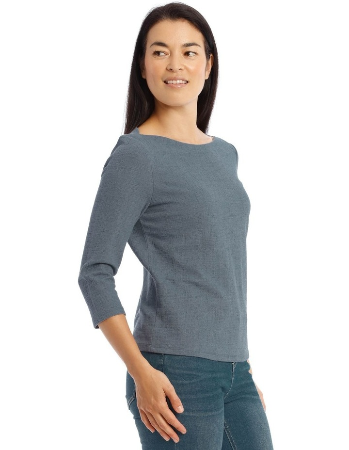 Boat Neck 3/4 Sleeve Textured Knit Tee image 2