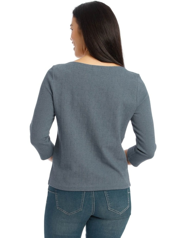 Boat Neck 3/4 Sleeve Textured Knit Tee image 3