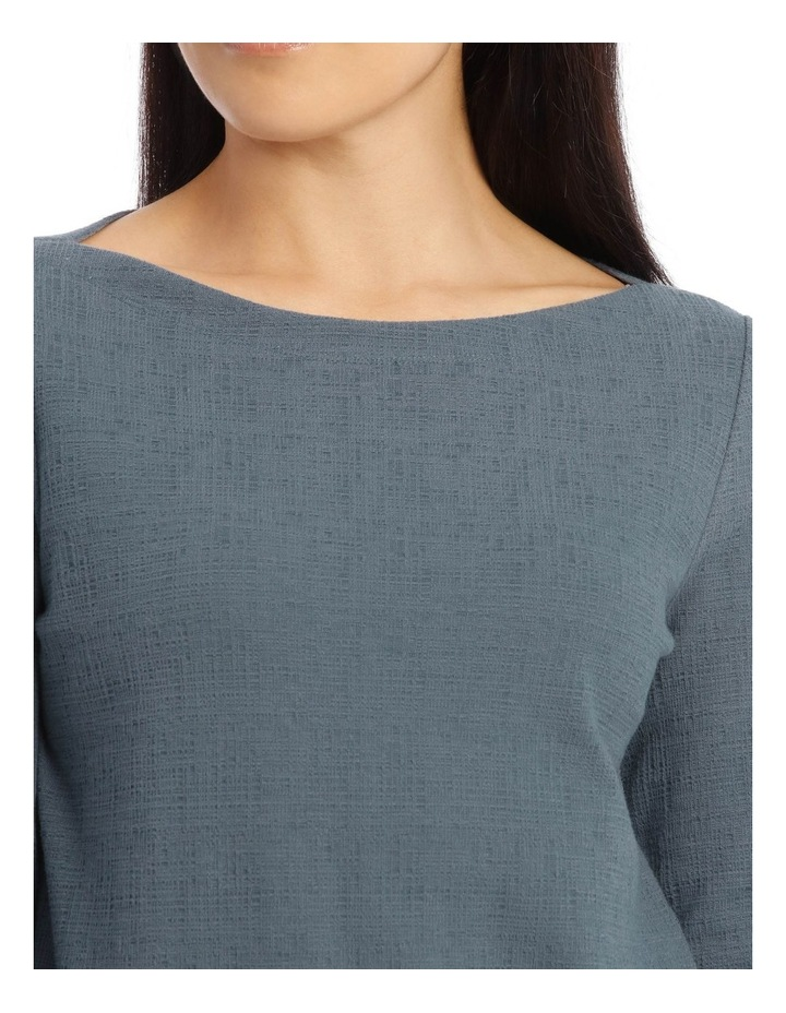 Boat Neck 3/4 Sleeve Textured Knit Tee image 4