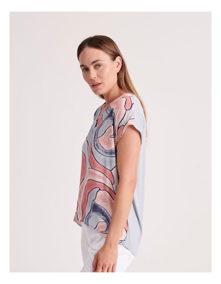 V-Neck Short Sleeve Woven Front Tee image 3