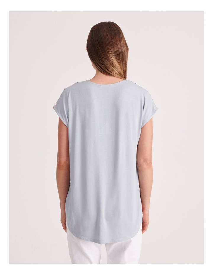 V-Neck Short Sleeve Woven Front Tee image 4