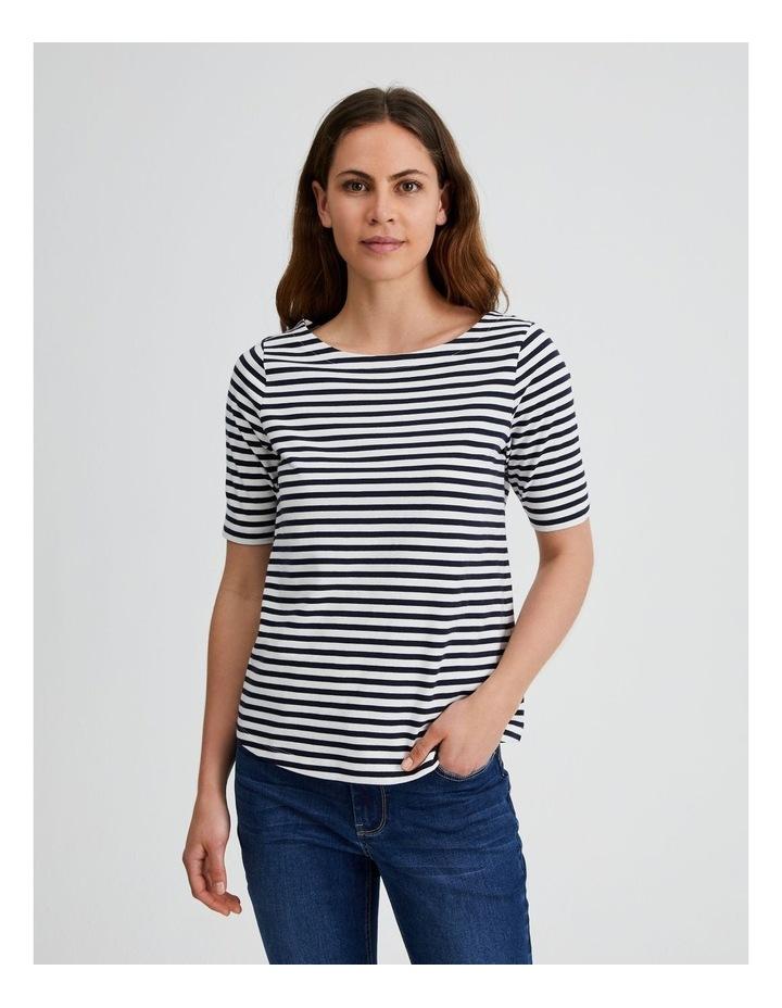 Short Sleeve Stripe Boatneck Tee image 1