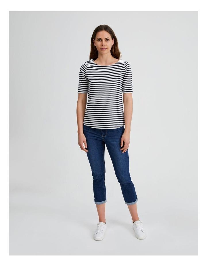 Short Sleeve Stripe Boatneck Tee image 4