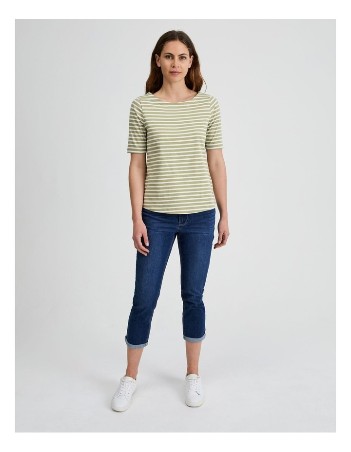 Short Sleeve Stripe Boatneck Tee image 1