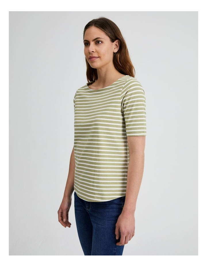 Short Sleeve Stripe Boatneck Tee image 2