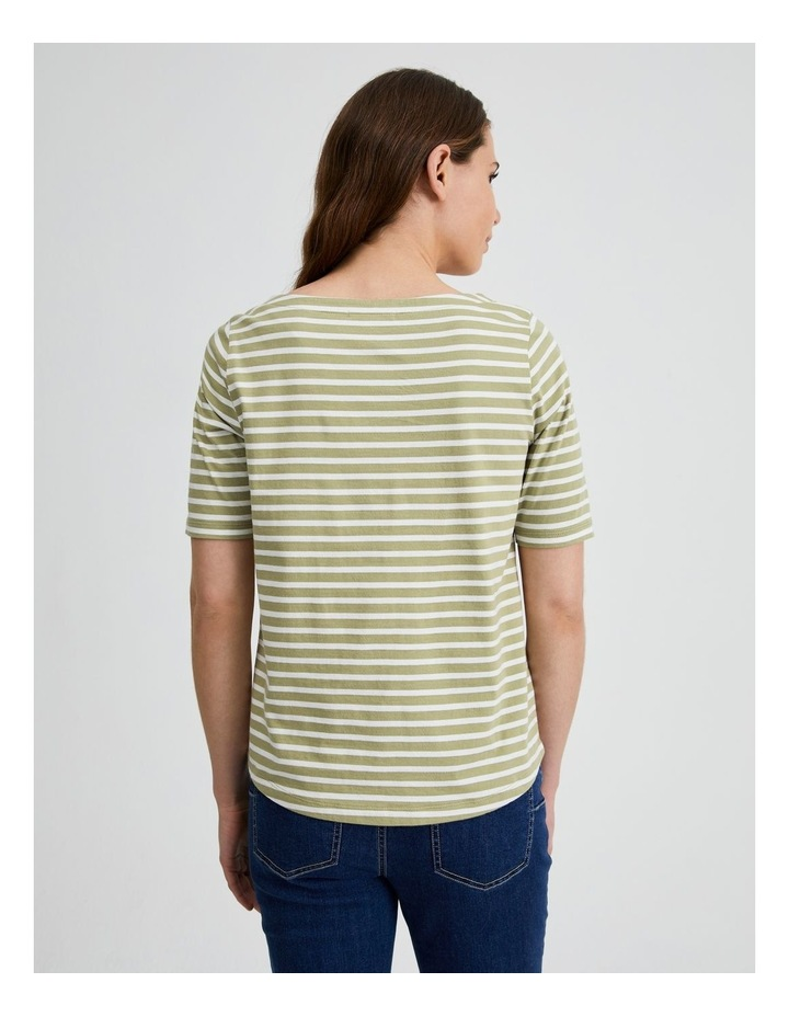 Short Sleeve Stripe Boatneck Tee image 3