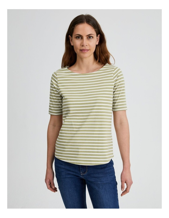 Short Sleeve Stripe Boatneck Tee image 4