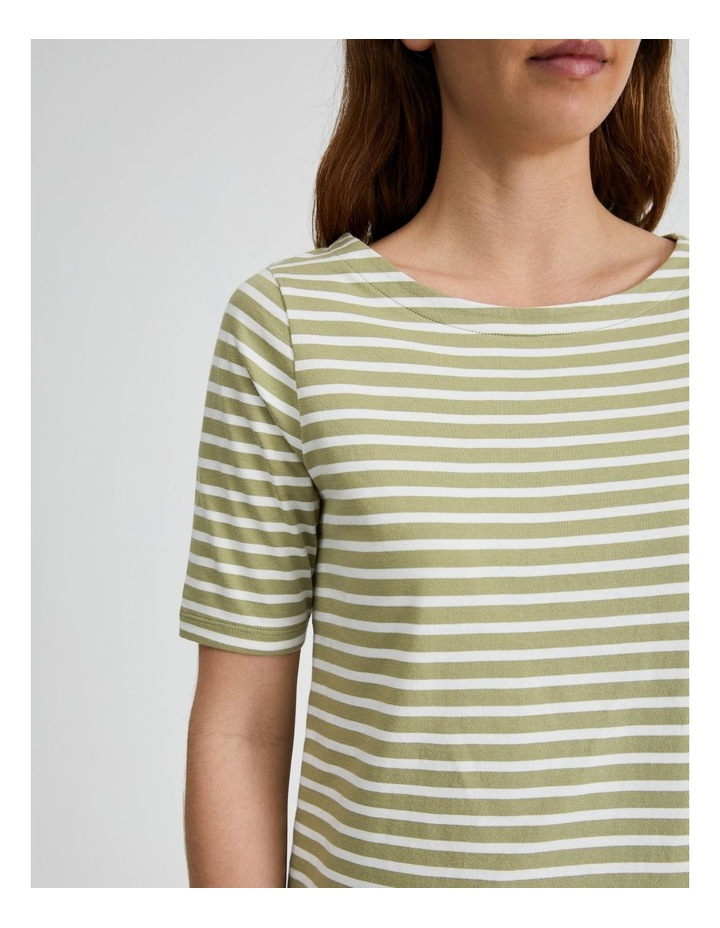 Short Sleeve Stripe Boatneck Tee image 5