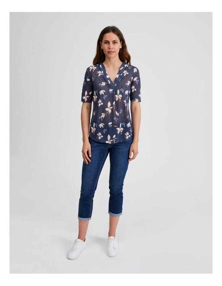Pintuck V-Neck Short Sleeve Tee-Blue Spot Floral image 4