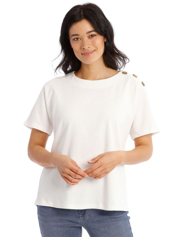 Extended Short Sleeves Tee With Button Shoulder image 1