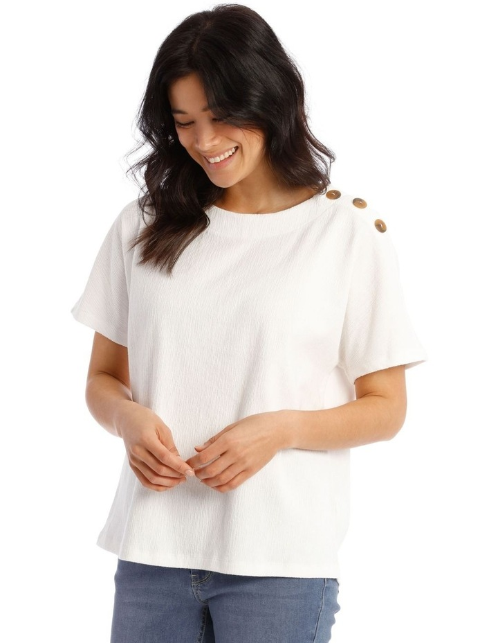 Extended Short Sleeves Tee With Button Shoulder image 2