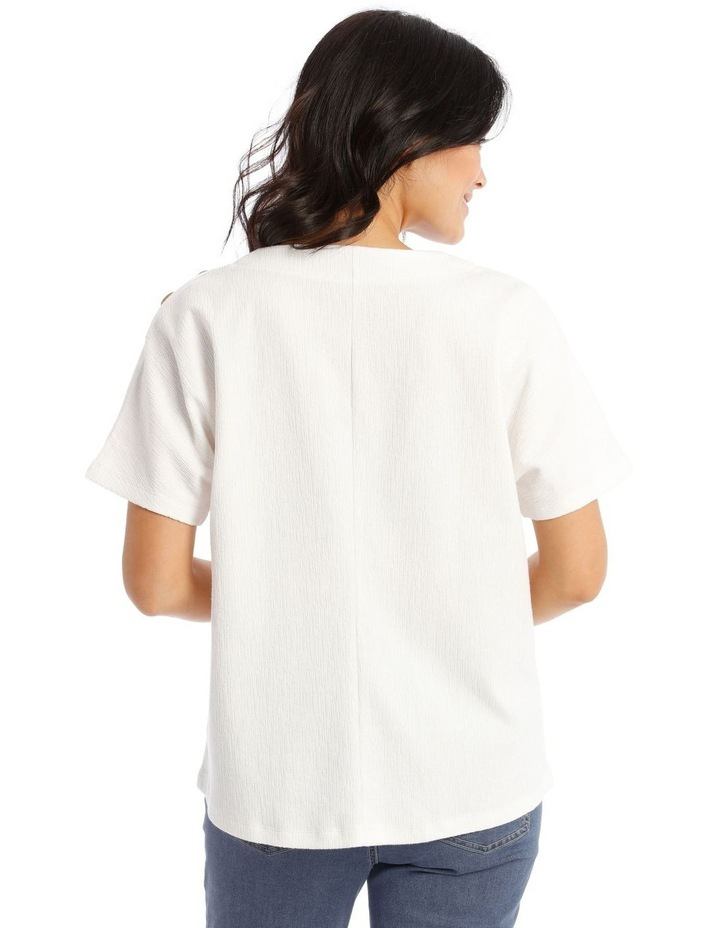 Extended Short Sleeves Tee With Button Shoulder image 3