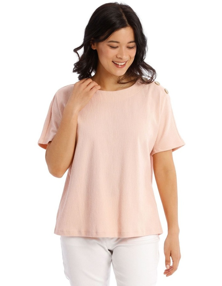 Extended Short Sleeve Tee With Button Shoulder image 1
