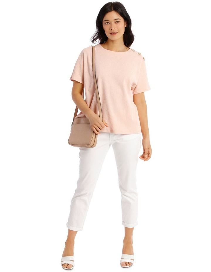Extended Short Sleeve Tee With Button Shoulder image 5