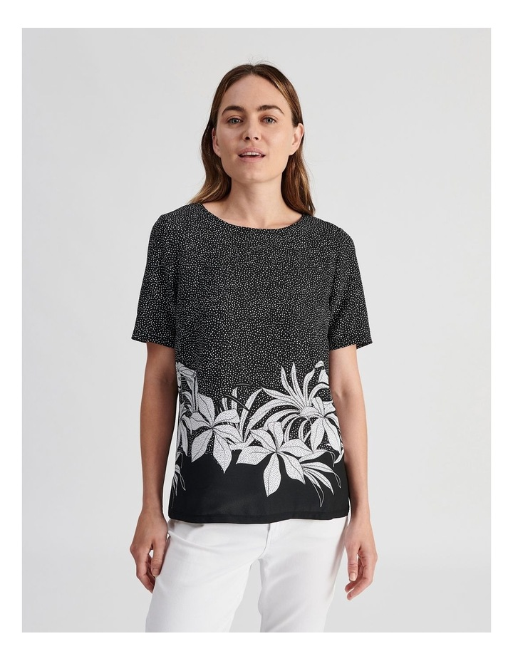 Short Sleeve Woven Front Knit image 1
