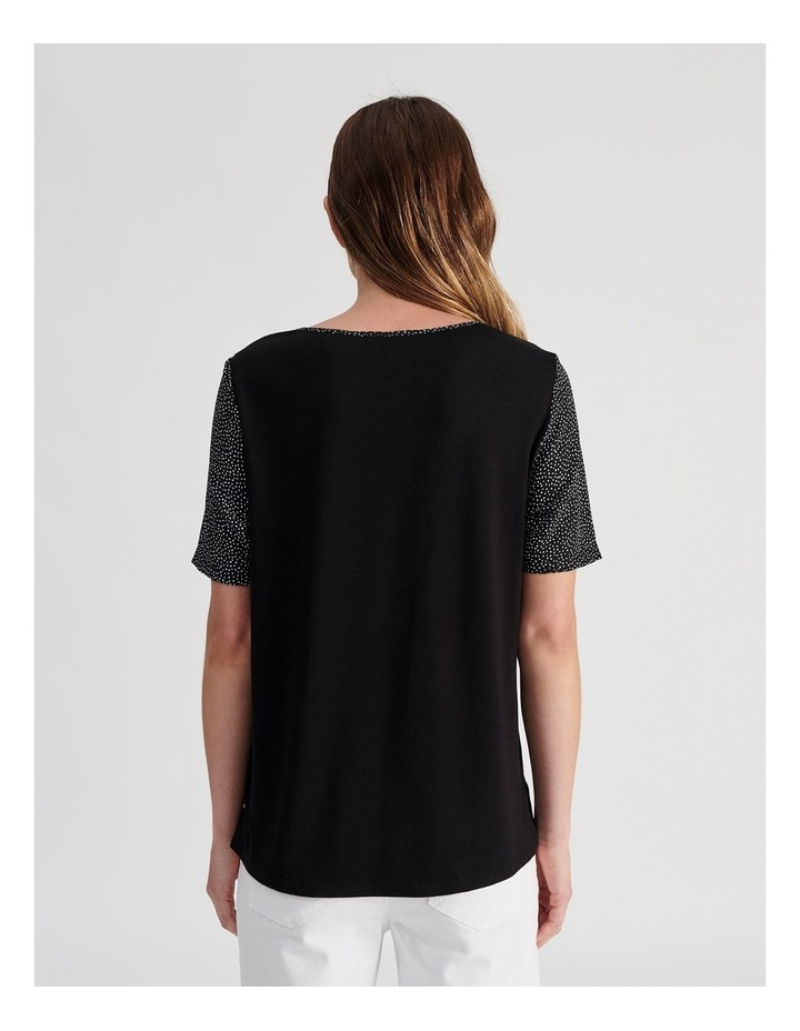 Short Sleeve Woven Front Knit image 3