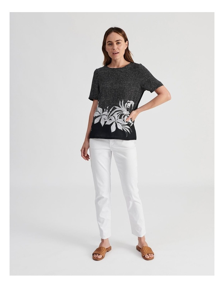 Short Sleeve Woven Front Knit image 4