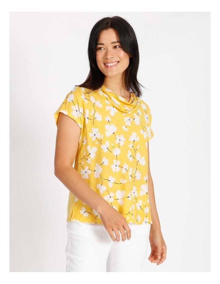Short Sleeved Woven Front With Knit Back Cowl Neck Tee image 1