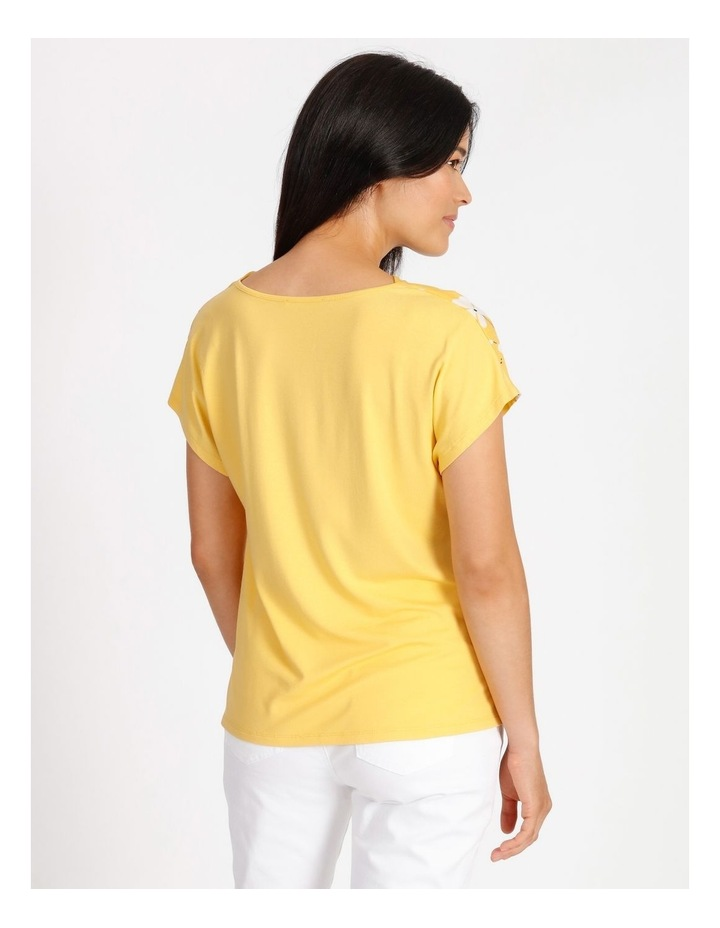 Short Sleeved Woven Front With Knit Back Cowl Neck Tee image 3