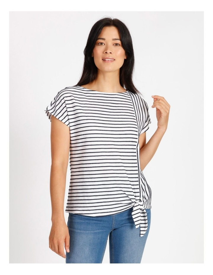 Short Sleeve Tee With Horizontal With Vertical Stripes & Tie image 1