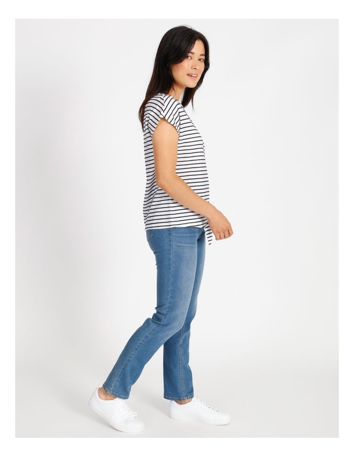 Short Sleeve Tee With Horizontal With Vertical Stripes & Tie image 2