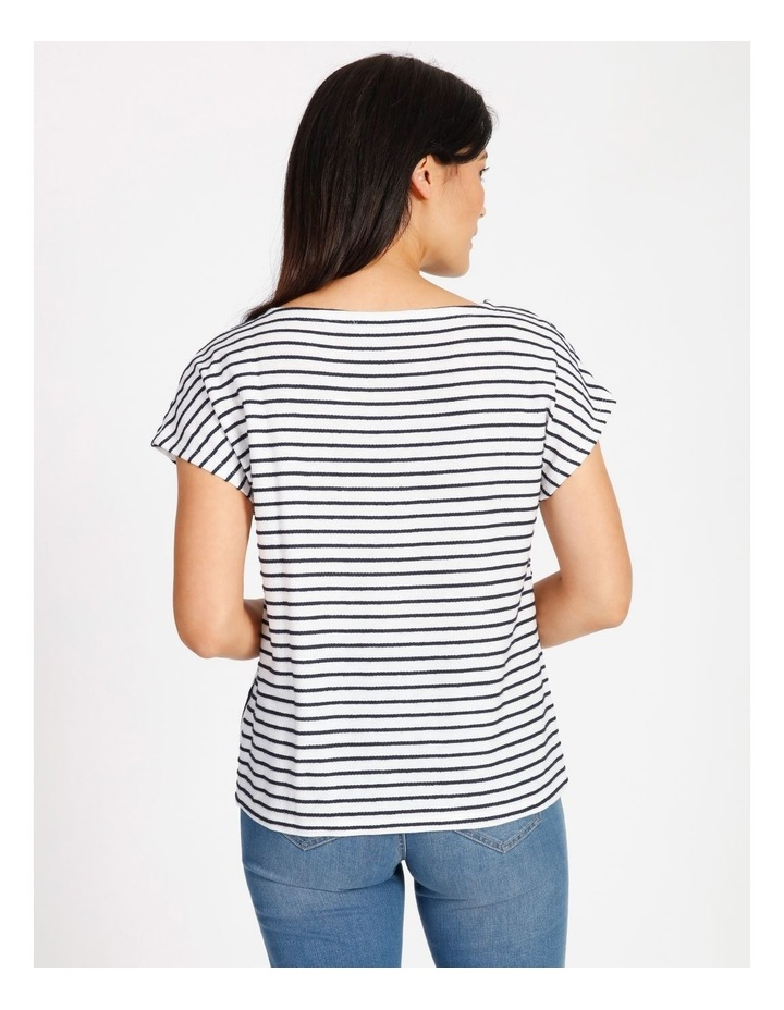 Short Sleeve Tee With Horizontal With Vertical Stripes & Tie image 3