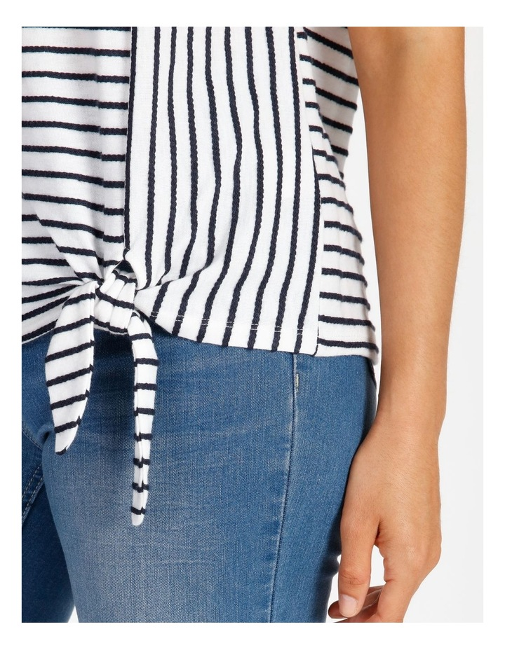 Short Sleeve Tee With Horizontal With Vertical Stripes & Tie image 5