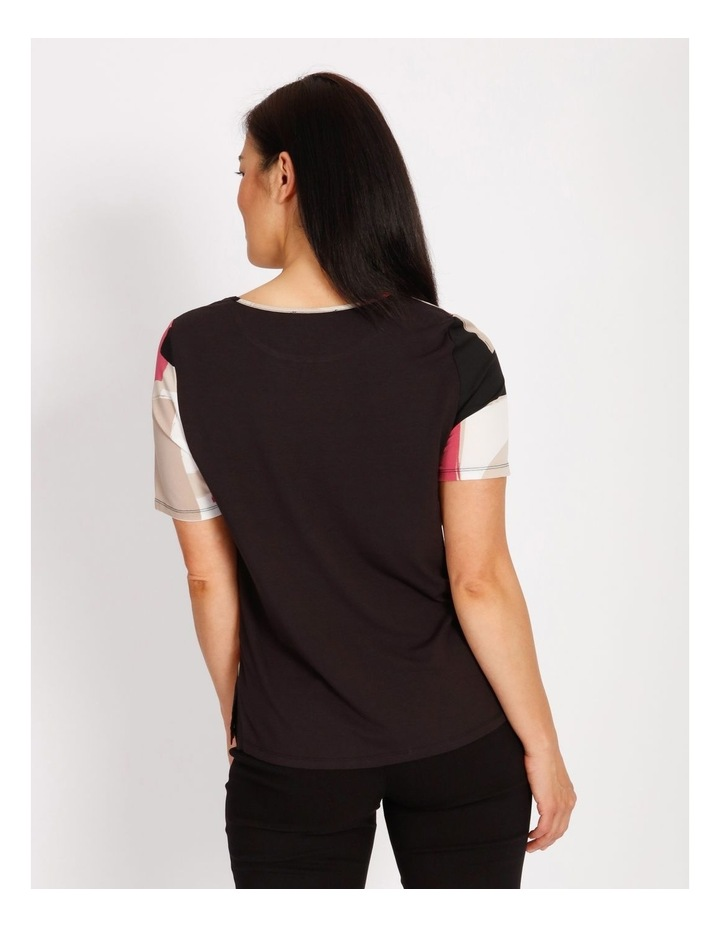 Etched Short Sleeve Woven Front Knit Back Tee image 3