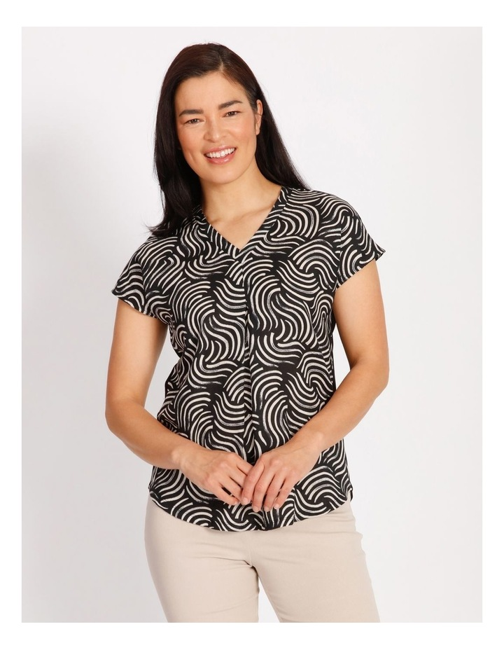Etched Short Sleeve Woven Front Knit Back V Neck Tee With Pleat & HiLo Hem image 1