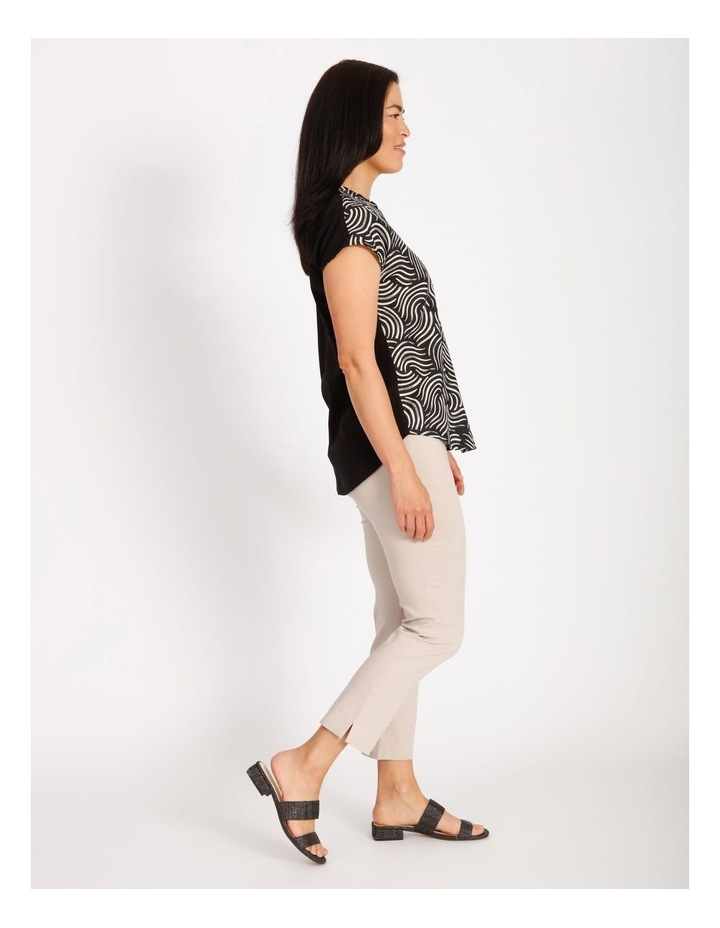 Etched Short Sleeve Woven Front Knit Back V Neck Tee With Pleat & HiLo Hem image 2